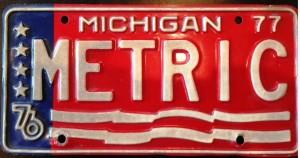 Metric License Plate